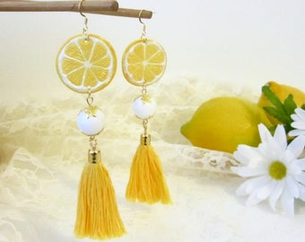 End of Summer Sale // Yellow Tassels // Yellow and White Statement Earrings // Lemon Drops // Lemon Slices // Summer // Tropical // Citrus