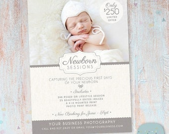 ON SALE Photography Marketing Board - Newborn Mini Sessions Photoshop Template - IN001- Instant Download