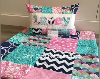 New! Pink teal and navy, Tula, Quilt and pillow set