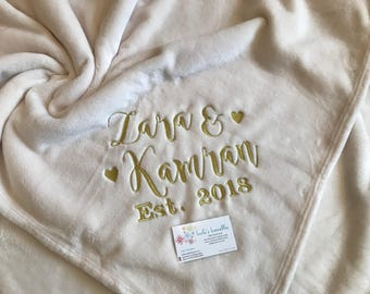 Wedding anniversary embroidered fleece blanket