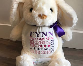 New!  Ivory Bunny embroidered stuffed animal