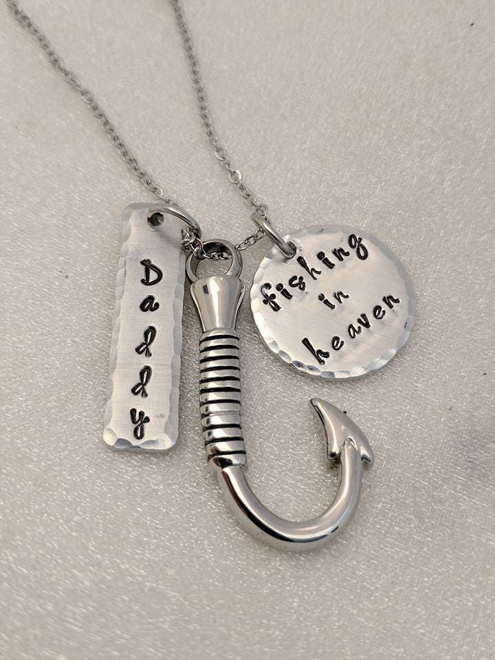 Fishing in heaven sympathy gift personalized memorial for Fish urn necklace