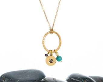 Lotus Necklace, Lotus Flower Necklace, Lotus Flower Jewelry, Lotus Jewelry, Lotus, Lotus Flower, Yoga Necklace, Flower Necklace,JIN261CBR