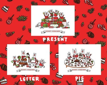 NEW - Pack of 3 - BITS FAMILY Christmas Card