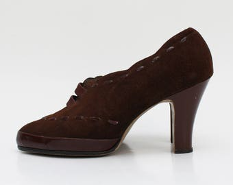50s Brown Suede Pumps - Size 7 Vintage 1950s Womens High Heel Shoes