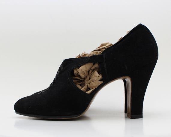 40s Black Cut Out Pumps - Vintage 1940s Suede High Heels