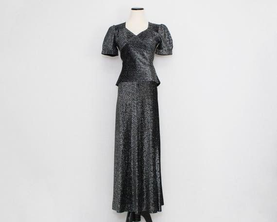 Vintage 1970s Metallic Silver Two Piece Disco Dress - Size Small