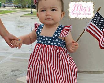 4th of July Bubble, Red White and Blue, Independence Day, Toddler Dress, USA Dress