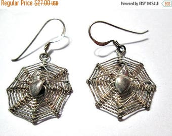 ON SALE Sterling Silver Vintage 1970's Detailed Spider in Spider Web Pierced Earrings