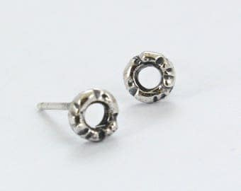 Small Stud Hoops Earrings -Sterling Silver - Silver Hoops - Handmade - Small Circle -  Everyday Earrings -Sterling Silver Oxidized