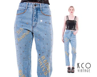 Vintage High Waisted Jeans Embroidered Jeans Embellished Jeans High Waisted Pants Skinny Jeans 90s Clothing Novelty Women's Size XS / SMALL