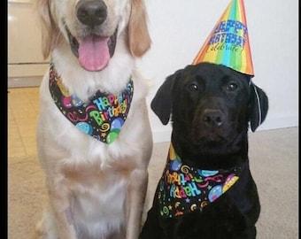 ON SALE Tie-on Dog Bandana Happy Birthday  - XSmall/Small/Medium/Large/XLarge