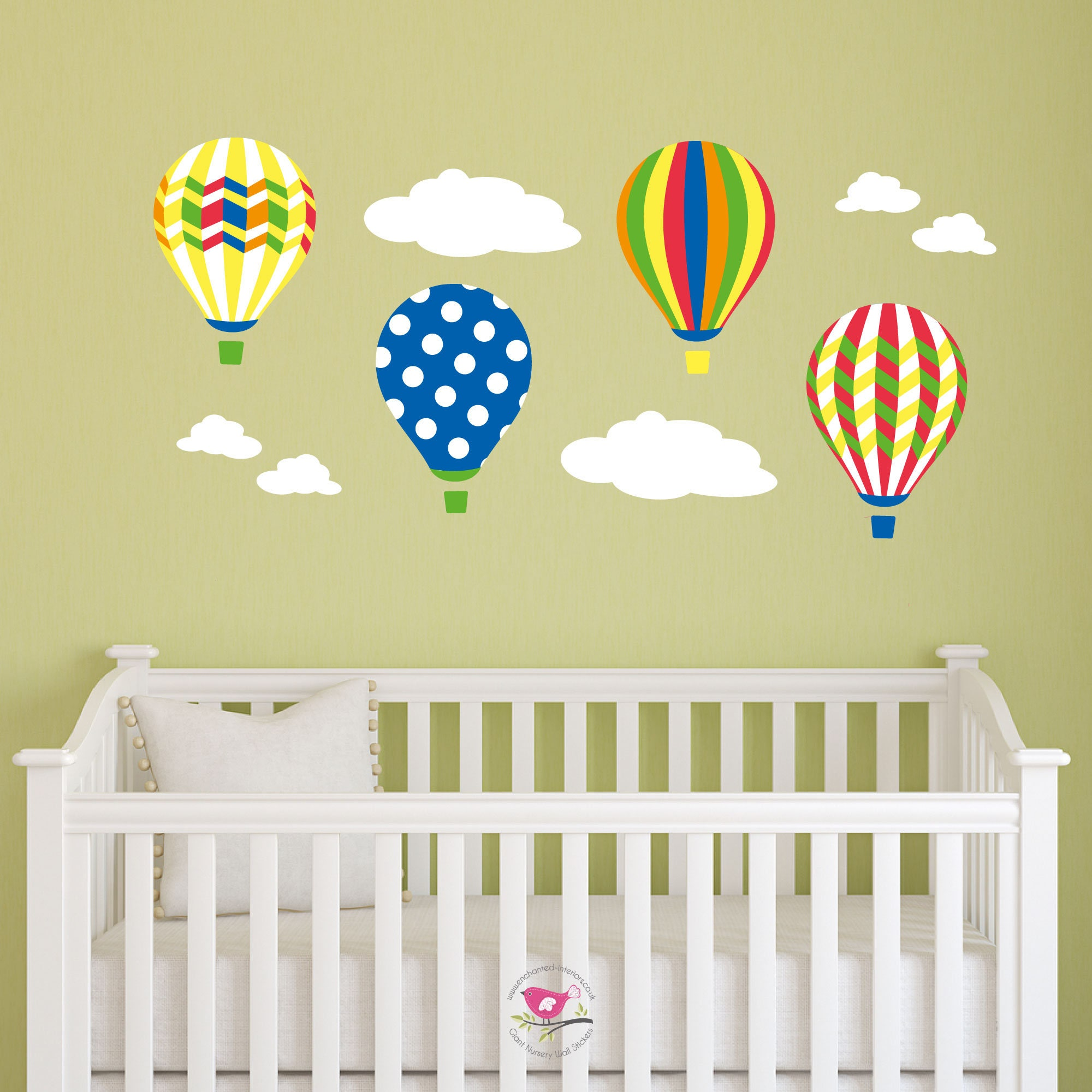 Hot Air Balloon Wall Stickers, Rainbow decal, Baby Decor Nursery ...