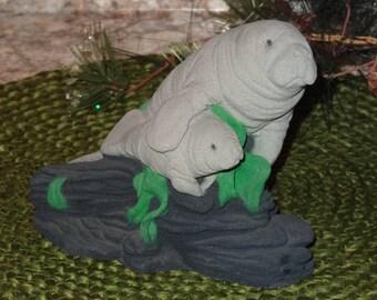 Vintage Manatee Figurine / Manatee Collectible / Ocean Animals / Ocean Decor / Beach Decor / Beach Figurine / Sand Figurine