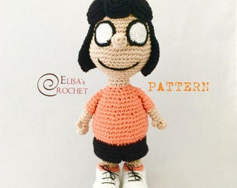 CROCHET PATTERN - Marcie from the Peanuts Crochet Amigurumi - pdf only
