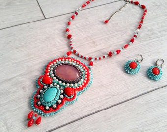 Handmade Necklace, Collars, Necklaces, Handmade embroidery, Seed Beeds, Original Jewellery, Pearls, Women Gifts