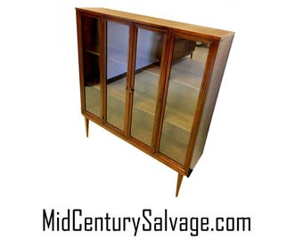 Broyhill Brasilia Glass Front Display Cabinet Hutch Top Bookcase Shelf Mid Century Danish Modern