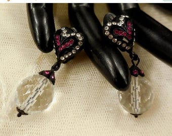 ON SALE Vintage Cardillo Pink and Cear Crystal and Glass Ball Dangle Earrings