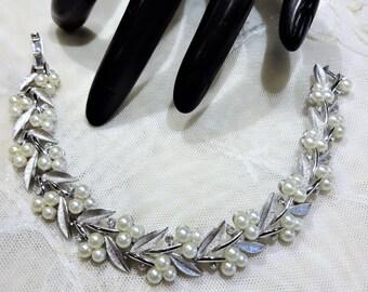 Beautiful Vintage Crown Trifari Faux Pearl and Rhinestone Textured Leaves Bracelet