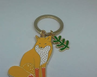 A charming orange fox enamel keyring keychain handbag charm