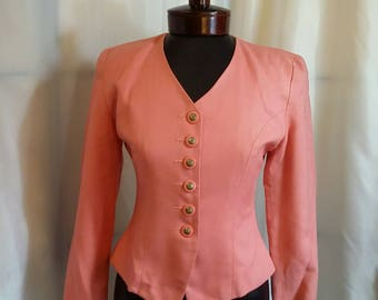 Shopclosing Vintage ladies jacket salmon suit jacket Petite Sophisticate size 0
