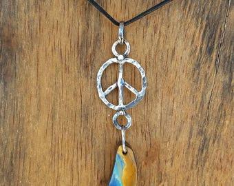Raw Australian boulder opal pendant peace sign sterling opal pendant raw opal sterling silver opal necklace raw opal necklace unique piece