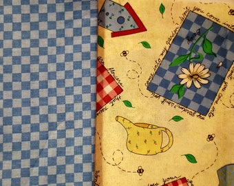 """Set of Two Gardening Fat Quarters, Cotton Fabric Dark and Light Blue 1/4"""" Squares & Coordinating Fabric, 18"""" x 22""""."""