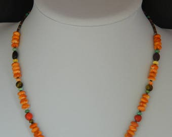 Native American Santo Domingo Orange Spiny Oyster Turquoise Sterling Silver Necklace 18 5/8""