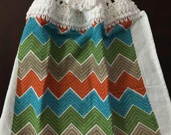 Teal, Rust, Tan, and Green Chevron Crochet Top Towel  (R4)