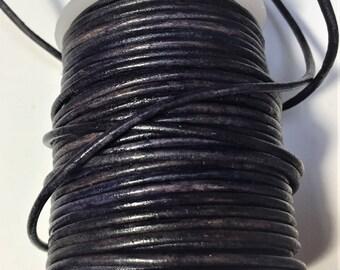 4 FEET 2mm Round Leather Cord Dark Denim Blue,  Jewelry supplies, bracelet finding, craft supply