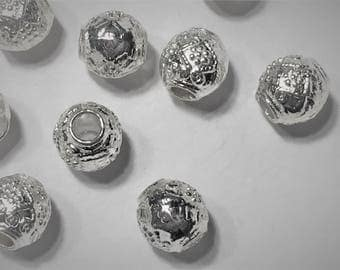 10 Silver Plated Pewter, Fancy Round for 3mm Round leather cord jewelry supplies, craft, bracelet, necklace beads, sliders, spacers