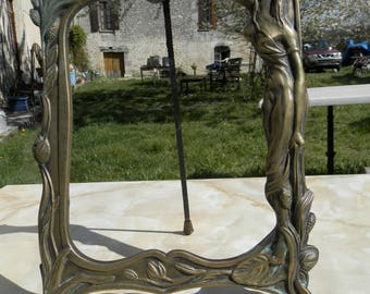 Vintage French Art Nouveau solid brass free standing ornate mirror or picture frame