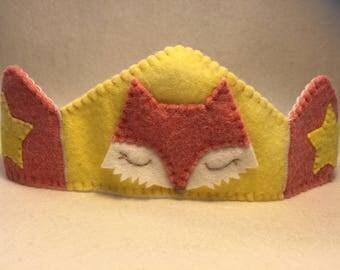 Crown Fox birthday Australian made wool felt Waldorf inspired yellow
