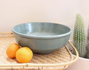 Vintage Studio Pottery Bowl Stoneware Teal Speckled Hand Thrown Ceramic Pottery Kitchen Boho Home Decor