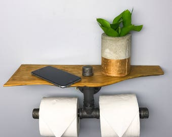 Live edge wood toilet paper holder