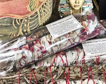 JUMBO WHITE Sage & LAVENDER Smudge Stick | Large Sage Bundle | Meditation, Altar, Home Cleansing, Positive Energy, Cleanse, Wicca Smudge Kit