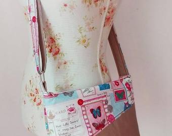 Shoulder bag 'Patches' beige pink-pink