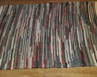 Dark Gray, Light Gray with Red Accents Rag Rug