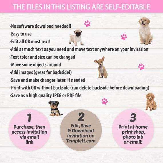 Puppy Birthday Invitation Dog Birthday Party Invitations – Email Birthday Invitation
