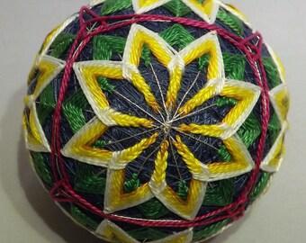 Japanese Temari Ball Blue, Green, Yellow Kiko flower
