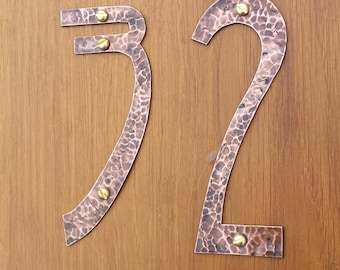 "Art Nouveau style house numbers, large  in polished or hammered copper, eco friendly - 9""/230mm high numbers Rivanna font g"