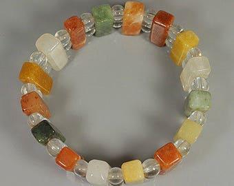 Multi-Color JADEITE BEAD'S Stretchy Bracelet