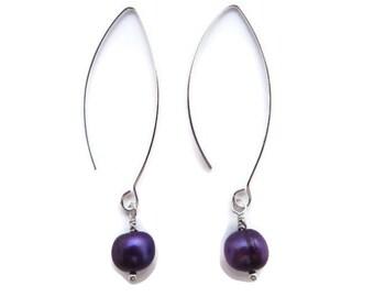 Purple Pearl Earrings, Long Purple Earrings, Violet Dangles, Long Purple Dangles, Freshwater Pearl Dangles, Iridescent Purple Drop