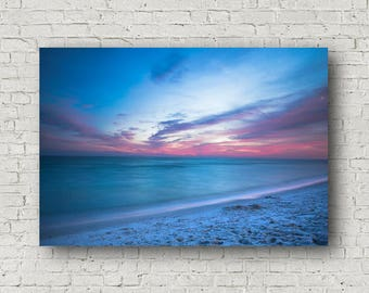 Canvas of Gulf Coast at Sunset in Destin Florida - Beach and Ocean Wall Art Photography - Seascape Home Decoration Art Canvas