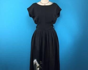 Japanese black kimono dress - french sleeve - vintage silk - US size 4-6