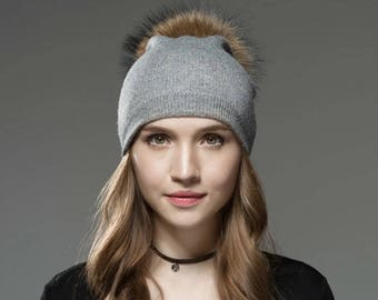 Free shipping-Slouchy beanie hat with Fur Pom Pom, hat with Fur Pom Pom, Christmas gift ideas,beanie, cap