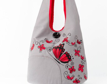 Gray red butterfly, delicate style shoulder bag