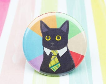 Moving SALE Funny Cat Pin, Business Cat Meme Button, Funny Cat Pin, Stocking Stuffer, Meme Pin Back Button, Meme Magnet, Business Cat, Cat