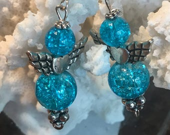 Crackle blue crystal angel earrings