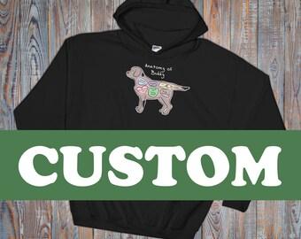 CUSTOM - Anatomy of Your Pet - Dog, Cat, Bird, Any Pet - Hooded Sweatshirt